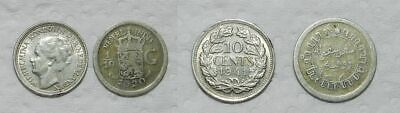NETHERLANDS 2 SMALL SILVER COINS - 10 Cents 1941 & 1/10 Gulden 1920
