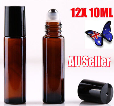 12 10ml Roller Bottle Amber THICK Glass Steel Roll on Ball for Essential Oils J6