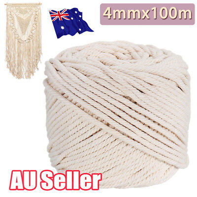 4mm Macrame Rope Natural Beige Cotton Twisted Cord Artisan Hand Craft 100M J6