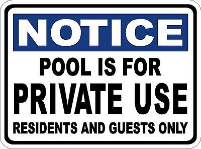 Pool is For Private Use Sign. Residents Guest Only. Size Options. Swimming Rules