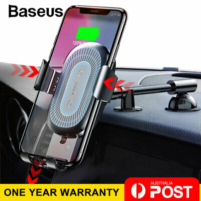 Baseus Qi Wireless Charger Car Phone Holder Mount for iPhone XS X Galaxy S10 S9