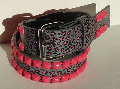 Junior Girl Pink Stud Studded Red Black Printed Belt Size M 28