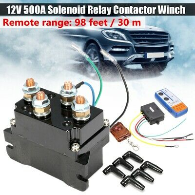 500A Solenoid Relay Contactor Winch Rocker Wireless Electric 98ft Thumb Switch