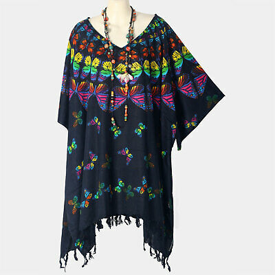 Butterfly Kaftan Tunic Party New Navy Blue Top Plus Size Womens 30 32 34 P21456