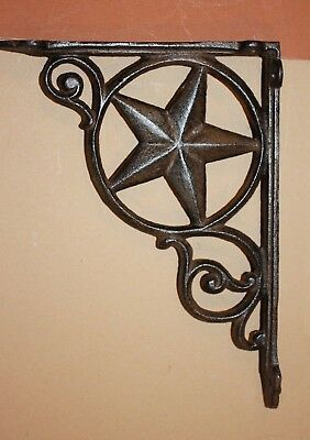"Cast Iron Star Shelf Brackets, Star Corbels, Heavy Solid Cast Iron, 9"", B-19"