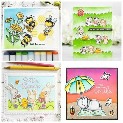 4*8inches Happy Animals Clear Stamps Scrapbooking Crafts Making Silicone Stamp
