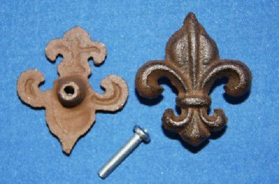 (10) Cast Iron, Drawer Knobs, Fleur De Lis, Rustic Decor, French Country, Cajun