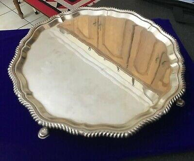 Antique Hallmarked Soli Sterling Silver 31cm Footed Salver Tray 764g London 1972