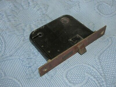 Antique Victorian Cast Iron Mortise Lock with Copper Wash Face,3 1/4 X 3 7/8 In