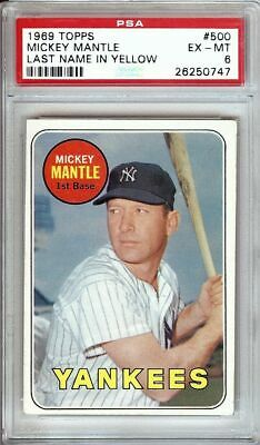 Mickey Mantle 1969 Topps Vintage Béisbol Tarjetas Graded PSA Ex-Mt 6 Yankees #