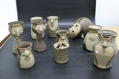 Collection of Muggins Pottery Mugs, Jugs, Goblets and Piggy Bank (JMW160)