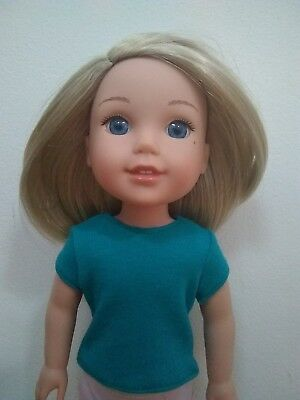 CUSTOM for Wellie Wishers AG 14.5 in doll Teal T Shirt American girl