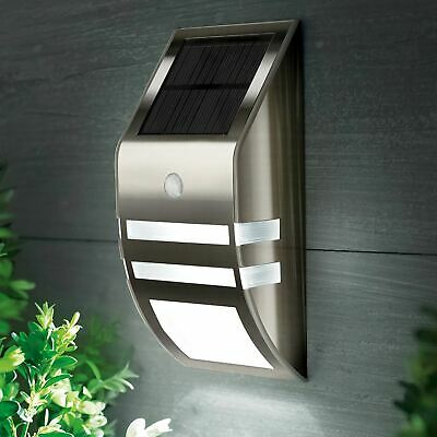 Wireless PIR Motion Sensor Solar 2 LED Security Flood Wall Outdoor Garden Light