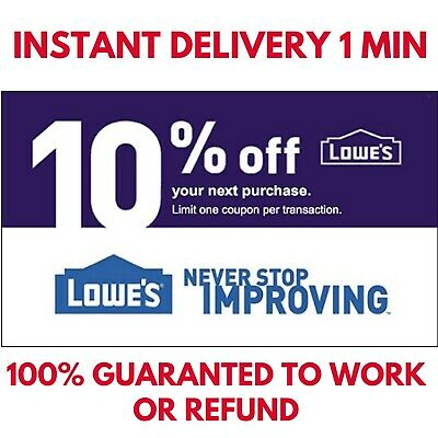 ONE [1x] Lowes 10% OFF Coupon Discount Instore/online - Fastest Delivery 1.MIN