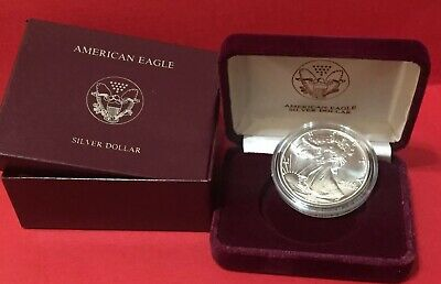 1990 American Eagle Silver Dollar Coin w/Case & Box NO COA
