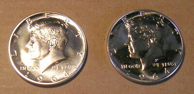 Two United States 1964 Silver Proof Kennedy Half Dollar Coin US Halves Lot