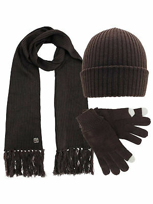 60108a73269 Ribbed Knit Men s 3 Piece Hat Scarf   Texting Gloves Set
