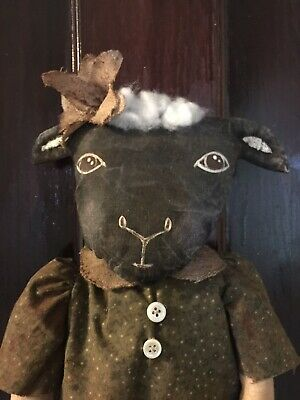 Primitive Grungy Little Sally Sheep Doll Easter Prim Door OOAK Lamb toy SPRING