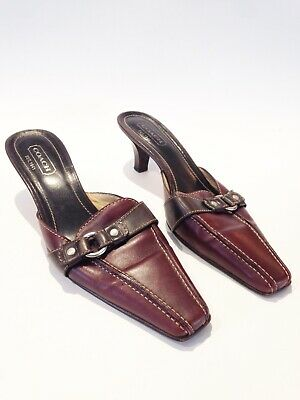 f8bf797e50 COACH (MADDISON) 9 B SHOES MULES Burgundy wine STRAPPY BUCKLE ITALY KITTEN  HEEL