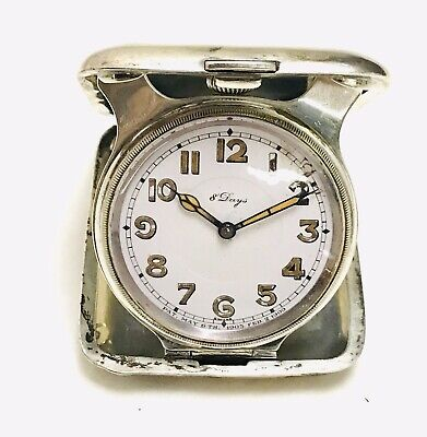 Antique Concord Sterling Silver Case 8-Day Swiss Travel Clock Running, ref 20676