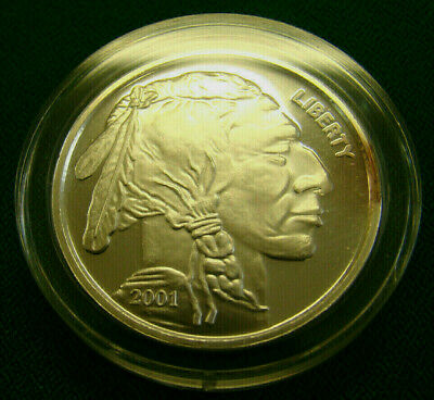 2001 Proof Indian Head/Buffalo Liberty 1 OZ .999 Silver Round / Free Shipping