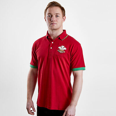 VX3 Mens Wales 2019/20 Vintage Rugby Polo T-Shirt Top Red