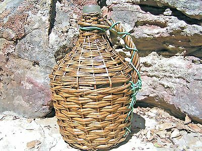 Old Wicker Wrapped Italian Wine Jug, Demijohn bottle 0734