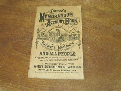 Antique Pierce's Memorandum Account Book,World's Dispensary Medical Assn., 1906