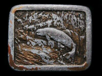 Il03110Heavily Worn Vintage 1977 ***Jumping Freshwater Trout*** Belt Buckle