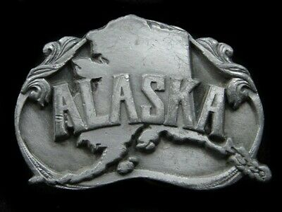 Rl01142 Vintage 1984 **Alaska** State Commemorative Pewter Belt Buckle