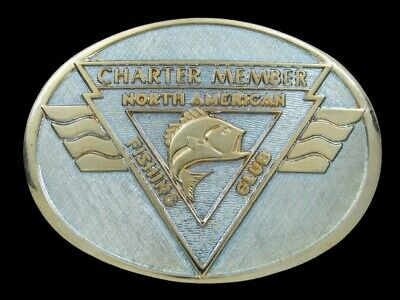 RJ11120 VINTAGE 1980s **NORTH AMERICAN FISHING CLUB CHARTER MEMBER** BELT BUCKLE
