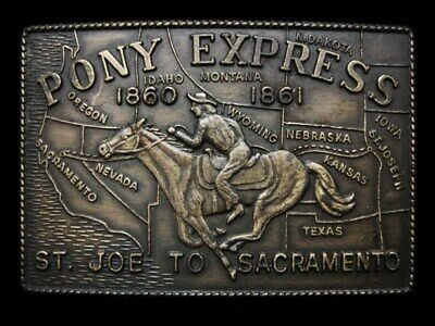 KJ21145 VINTAGE 1970s PONY EXPRESS 1860-1861 ST. JOE TO SACRAMENTO BELT BUCKLE