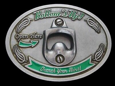 Nc15127 Very Cool **Bottom's Up Quench Your Thirst** (Bottle Opener) Belt Buckle