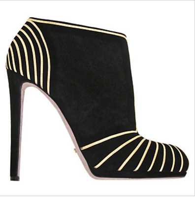detailed look 07648 20f1b SERGIO ROSSI BLACK suede ultra high heel ankle boots gold graphic trim zip  SZ 41
