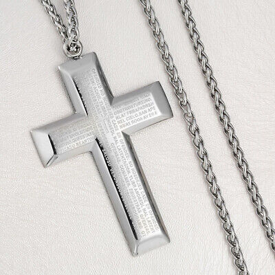 Fashion Unisex's Men Stainless Steel Cross Pendant Silver Bible Necklace