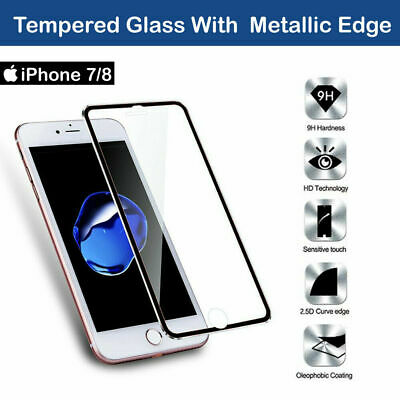 Tempered Glass Screen Protector For Apple iPhone 7 - 100% Genuine Metal Edge