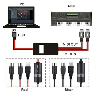 Electric Piano Drum USB To 2 MIDI Interface Adapter Cable Converter For PC
