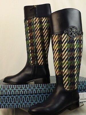 ce6ff18e2f19 Tory Burch Miller Bright Navy Green Dogtooth Tweed Leather Reva Riding  Boots 10