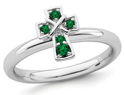 1/8 Carat (ctw) Lab Created Emerald Cross Ring in Sterling Silver