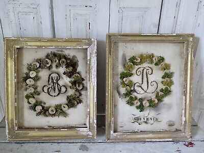 Paar Antik Biedermeier Brautkranz von 1834 Wedding Wreath Antique French Shabby