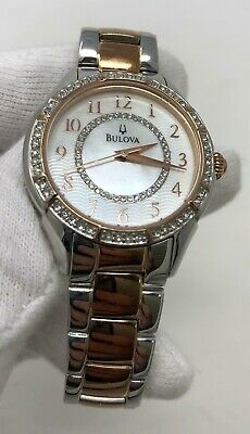 Bulova Crystals 33mm Mother of Pearl Dial Two Tone Women's Watch 98L182 SD9