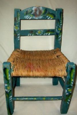 Vintage Aqua Mexican Child Chair Primitive Doll HP Floral Woven Seat 50's Retro