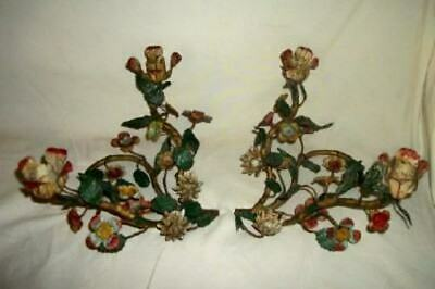 ANTIQUE ITALIAN TOLE FLORAL Candle Holders Double French Chic Shabby NICE 1920's