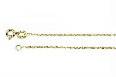 10K Yellow Gold Rope Pendant Chain .7mm wide Lightweight 16 inch Spring Ring