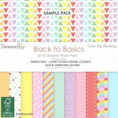 Dovecraft Over The Rainbow Papers - 6 X 6 Sample Pack  - 12 Sheets Postage Deal