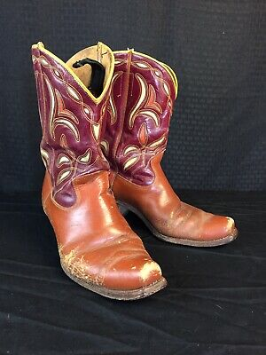 8856b89b660 VINTAGE ACME COWBOY BOOTS PEEWEE INLAY CUT OUT ARROWHEAD Size 9 D