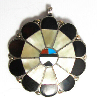 """sterling silver gemstone inlay sunface kachina pendant or brooch, 18"""" chain"""