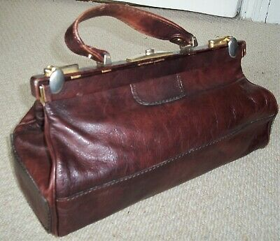 Stunning Vintage  Rich Burgundy Leather Gladstone Bag/doctor Bag/top Handle Bag