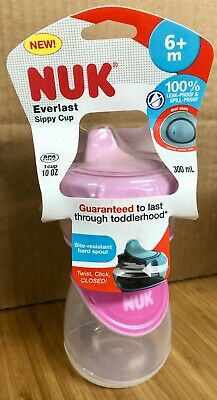 New Nuk Everlast Sippy Cup 6+M BPA Free 1 Cup 10oz Leak Proof Spill Proof Pink