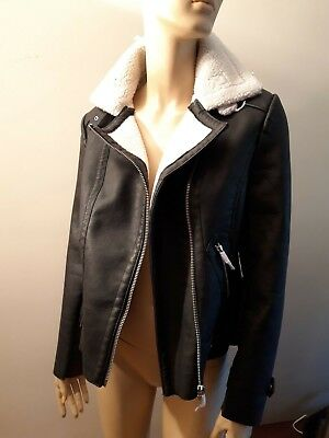 """new Look"" Ladies,black.warm Biker Jacket. Size 8 Retail Price £39.99"
